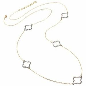 NWOT Amrita Singh Crystal TwoTone Clover Necklace